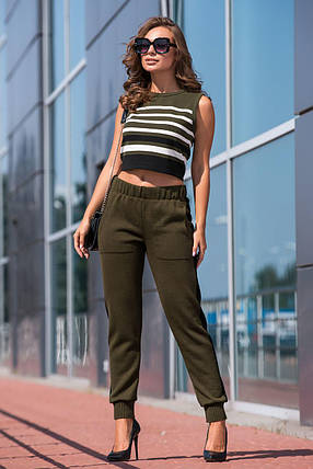 Вязаные брюки с лампасом (хаки, черный), фото 2