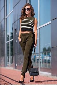 Вязаные брюки с лампасом (хаки, черный)