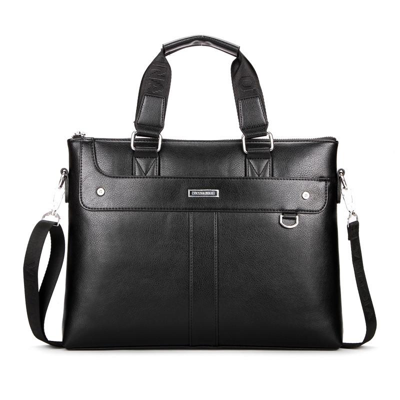 Деловая мужская сумка-портфель Черный, коричневый
