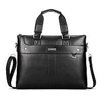 Деловая мужская сумка-портфель Черный, коричневый, фото 1