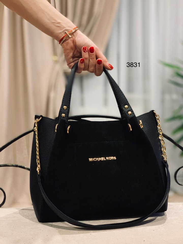 Женские сумки натуральная замша и кожзам,черная