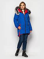 """Теплая зимняя женская куртка """"I-318"""" (цвет: электрик/черный/темно-синий/красный; размеры: 44/46/48/50/52/54)"""