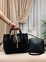 Женская сумка 2 в1,,натуральная замша и кожзам,черна и серая
