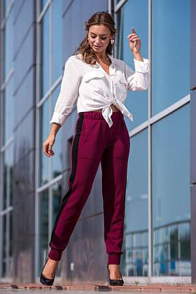 Вязаные брюки с лампасом (марсала, черный), фото 2