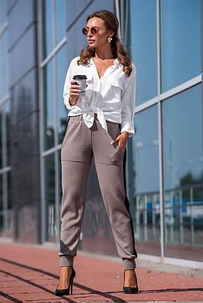 Вязаные брюки с лампасом (капучино, черный), фото 2