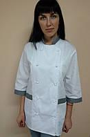 Китель Классика для повара на пуклях рубашечная ткань три четверти рукав