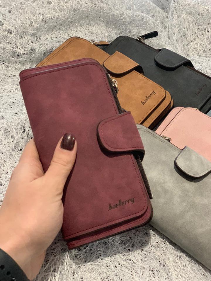 Женский кошелек,нубук,большой,разные цвета