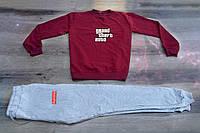 Осенний мужской спортивный костюм, свитшот+штаны, бордовый спортивный костюм GTA X Supreme, Реплика