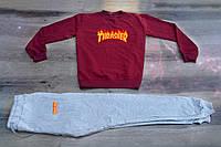 Осенний мужской спортивный костюм, свитшот+штаны, бордовый спортивный костюм Thrasher Fire, Реплика