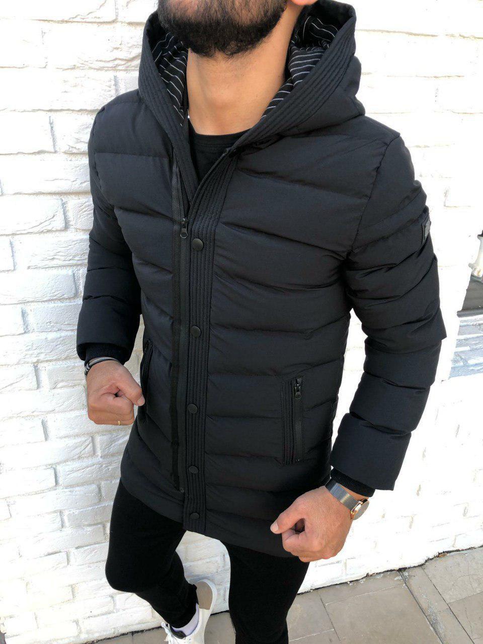 😜 Куртка - Мужскаяя куртка зима серого цвета удлиненная