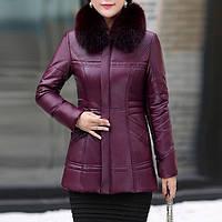 Кожаная утепленная курточка (эко-кожа) с песцовым воротником (размеры с 40 по 58), марсала, фото 1