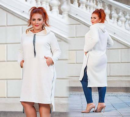 """Женская стильная туника-платье до больших размеров 15235 """"Змейки Капюшон Ленты"""" в расцветках"""
