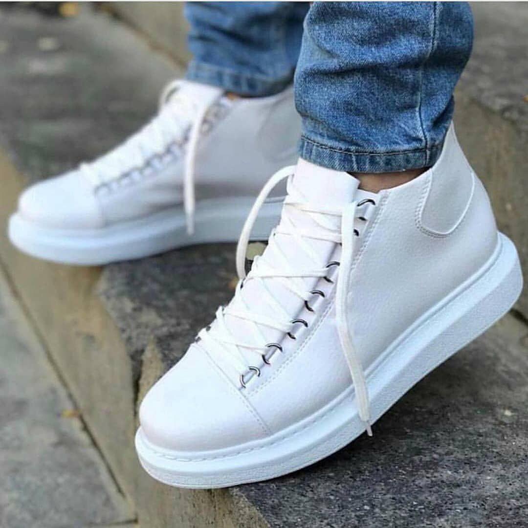 Ботинки - мужские ботинки на шнурках белого цвета