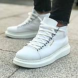Ботинки - мужские ботинки на шнурках белого цвета, фото 4