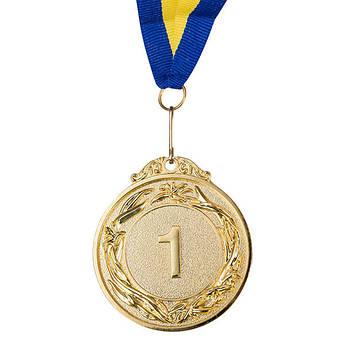 Медаль наградная с лентой, d=60 мм, золото