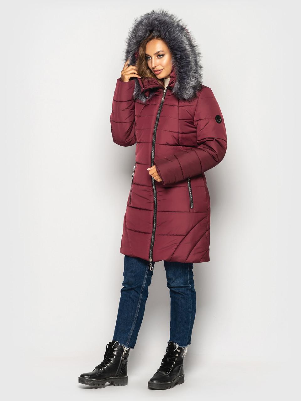 """Теплая зимняя женская куртка """"I-77"""" (цвет: черный/темно-синий/бордовый/зеленый; размер: 50/52/54/56/58/60)"""