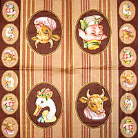 Декупажная салфетка Галерея животных 4806