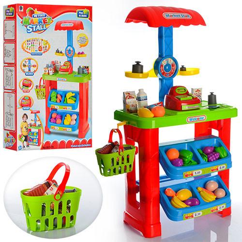 Детский набор супермаркет-магазин 661-79 с прилавком, кассой, продуктами, тележкой