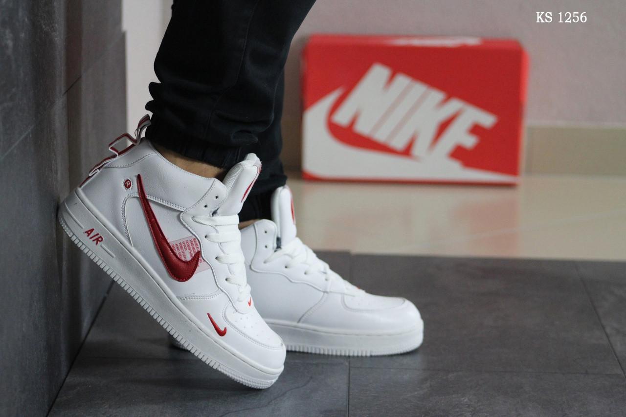 Мужские кроссовки Nike Air Force 1 LV8 High (бело/красные) ЗИМА