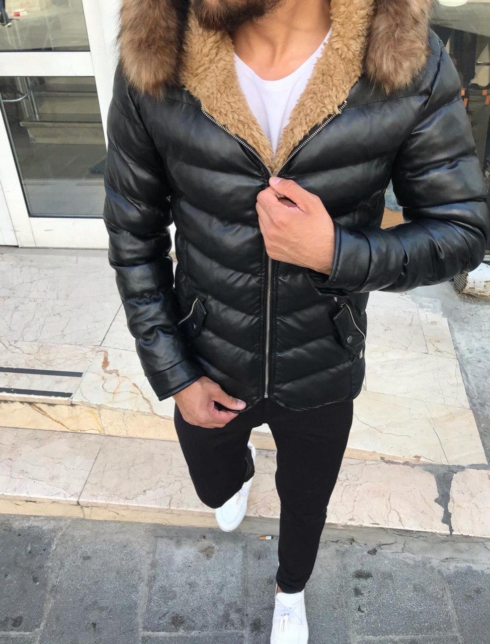 😜 Куртка Чоловіча куртка зима чорного кольору коротка з хутром