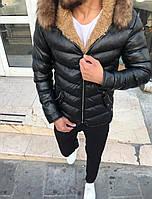 😜 Куртка - Мужская куртка зима черного цвета короткая с мехом