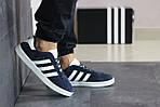 Чоловічі кросівки Adidas Gazelle (синьо-білі), фото 4
