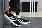 Чоловічі кросівки Adidas Gazelle (чорно-білі з помаранчевої п'ятою), фото 2