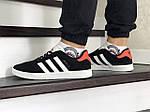 Чоловічі кросівки Adidas Gazelle (чорно-білі з помаранчевої п'ятою), фото 3