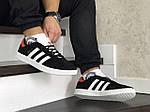 Чоловічі кросівки Adidas Gazelle (чорно-білі з помаранчевої п'ятою), фото 4