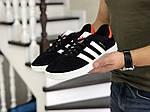 Чоловічі кросівки Adidas Gazelle (чорно-білі з помаранчевої п'ятою), фото 5