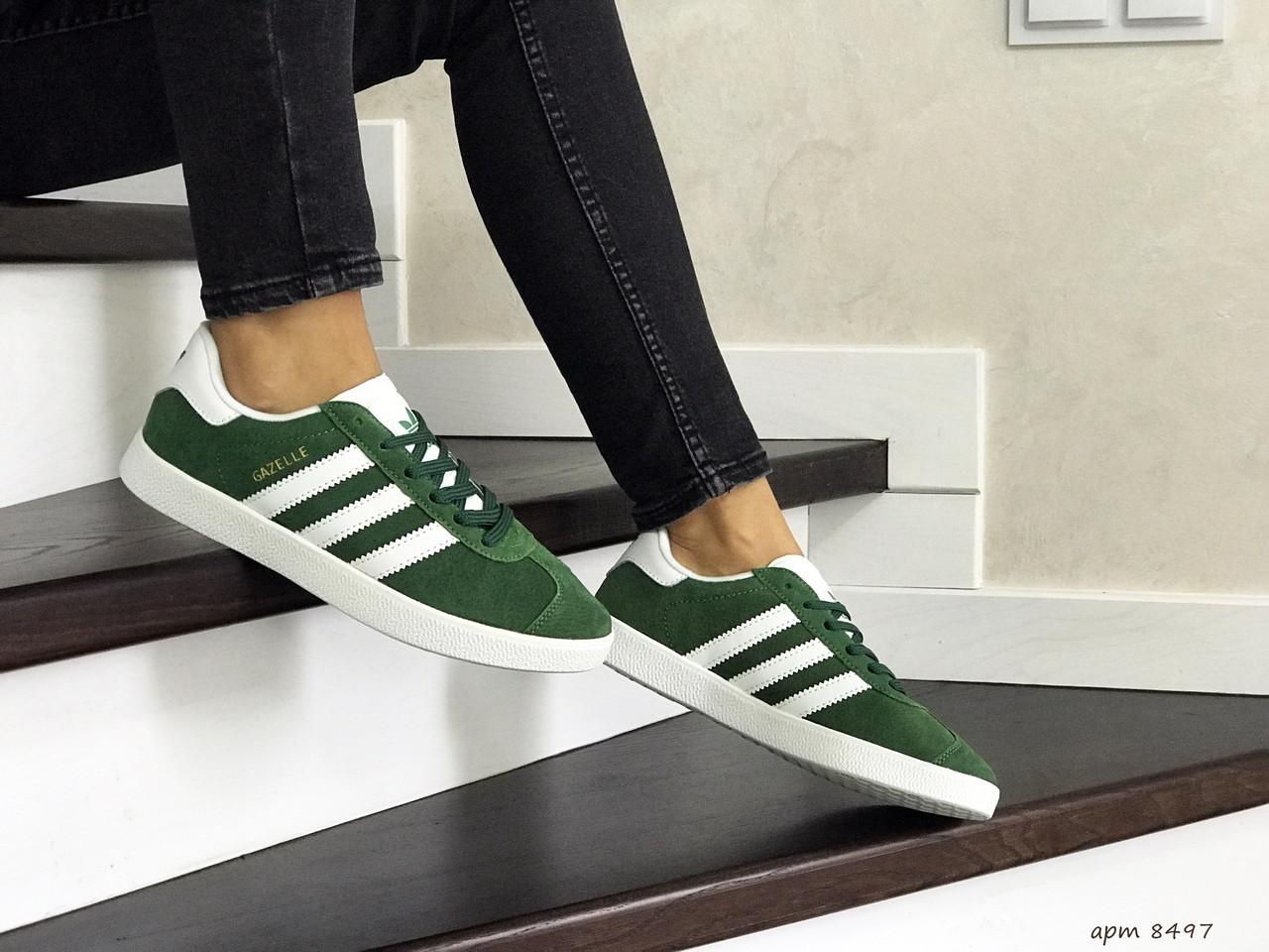 Женские кроссовки Adidas Gazelle (зеленые)