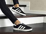 Женские кроссовки Adidas Gazelle (черно-белые), фото 3