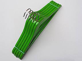 Плечики вешалки тремпеля деревянные зеленого цвета, длина 38  см, в упаковке 5 штук, фото 3