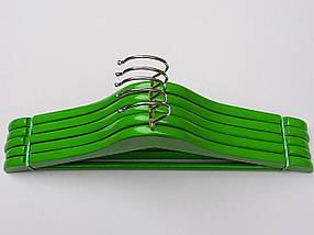 Плечики вешалки тремпеля деревянные зеленого цвета, длина 38  см, в упаковке 5 штук, фото 2