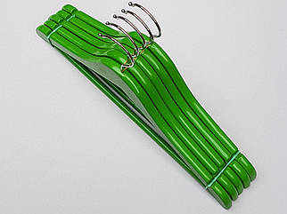 Плечики вешалки тремпеля деревянные зеленого цвета, длина 38  см, в упаковке 5 штук