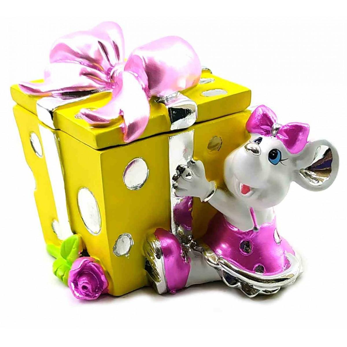 Шкатулка с крышкой в виде Подарка с мышкой