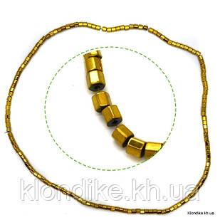 Бусины Гематит Натуральный, на нити, 3×3 мм, Цвет: Золото