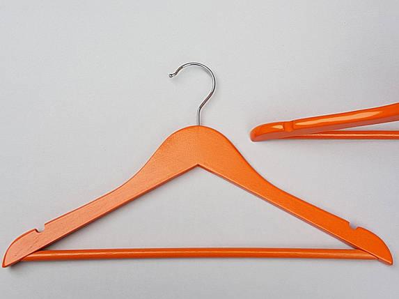 Плечики вешалки тремпеля деревянные оранжевого цвета, длина 38  см, в упаковке 5 штук, фото 2
