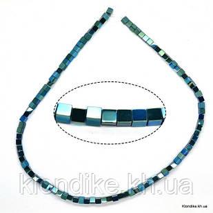Бусины Гематит Натуральный, квадрат, на нити, 4×4 мм, Цвет: Бирюзовый