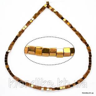 Бусины Гематит Натуральный, квадрат, на нити, 4×4 мм, Цвет: Золото