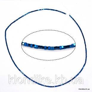 Бусины Гематит Натуральный, квадрат, на нити, 1.5×1.5 мм, Цвет: Синий