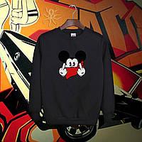 Зимний мужской свитшот, кофта на флисе, реглан, чоловічий світшот, толстовка Mikki Mouse, Реплика