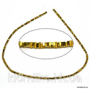 Бусины Гематит Натуральный, рондель, на нити, 3.5 мм, Цвет: Золото