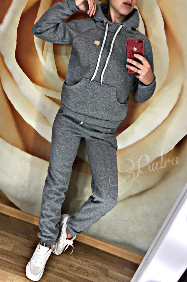 Теплый спортивный костюм на флисе толстовка капюшон + штаны, фото 1