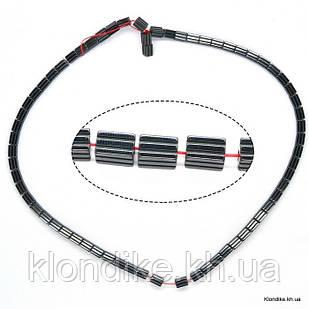 Бусины Гематит Натуральный, на нити, 6×4 мм