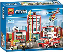 """Конструктор Bela 10831 (аналог Lego City 60110) """"Пожарная часть"""", 958 деталей"""