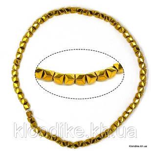 Бусины Гематит Натуральный, на нити, 6×6 мм, Цвет: Золото