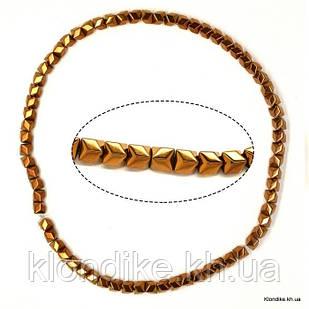 Бусины Гематит Натуральный, на нити, 6×6 мм, Цвет: Золото 2