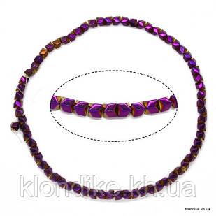Бусины Гематит Натуральный, на нити, 6×6 мм, Цвет: Фиолетовый