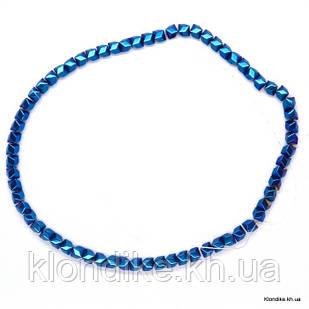 Бусины Гематит Натуральный, на нити, 6×6 мм, Цвет: Синий